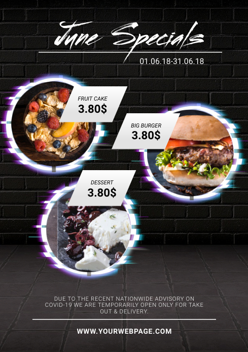 Neon Restaurant Specials Design Template A4