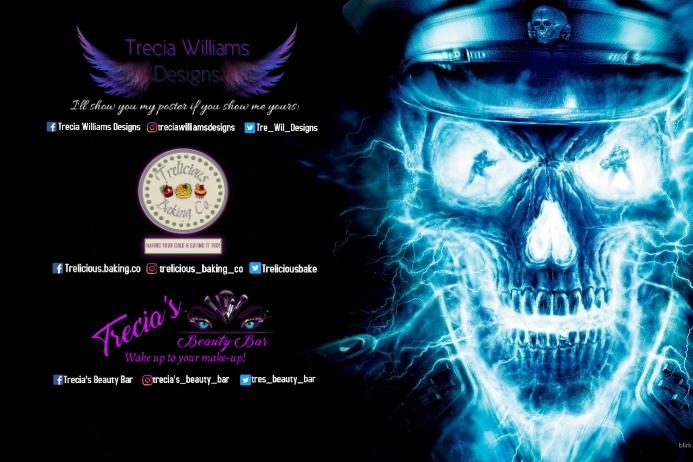 Neon Skull Banner 4' × 6' template
