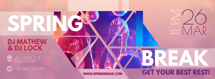 Neon Spring Party Banner Design