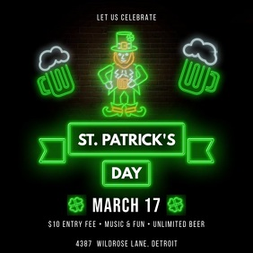 neon St. Patrick's Day Carré (1:1) template