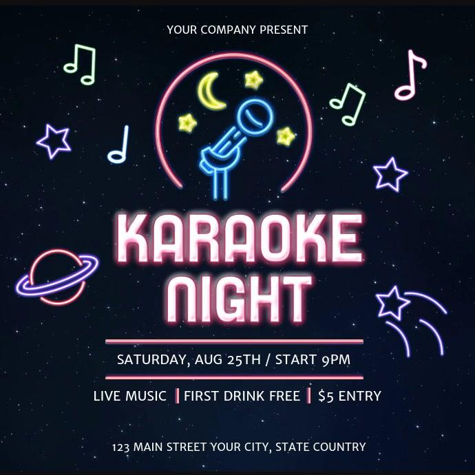 Neon Themed Karaoke Night Square Video
