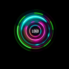 NEON UV GLOW LOGO ICON TEMPLATE
