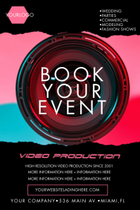Neon Video Photography Flyers Poster template