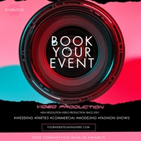 Neon Video Production Photography Ad Post Instagram template