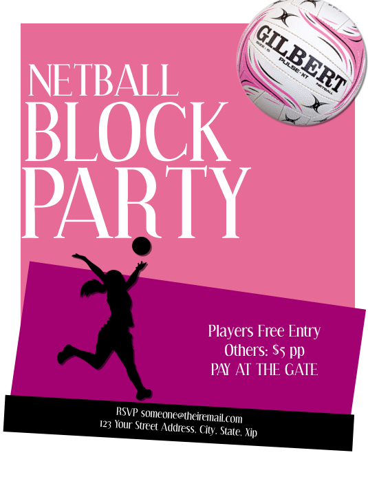 Netball Party Flyer Template Iflaya (Incwadi ye-US)