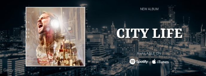 New Album Release Facebook cover ad Facebook-omslagfoto template