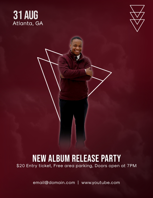 New Album Release Party Flyer (Letter pang-US) template