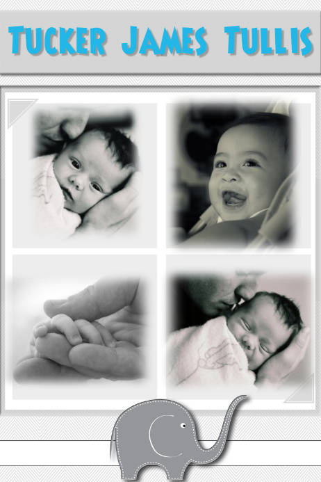 New Baby Photo Collage Template Poster Invitation