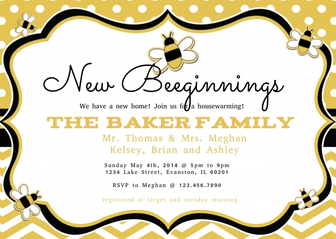 New Beeginnings House Warming Invite Customize Template