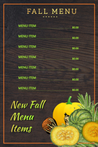 New Fall Menu Poster Cartaz template