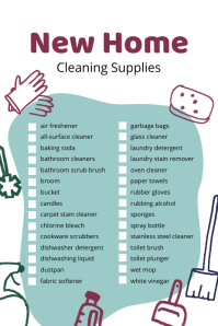 New Home Cleaning Supplies Checklist Poster template