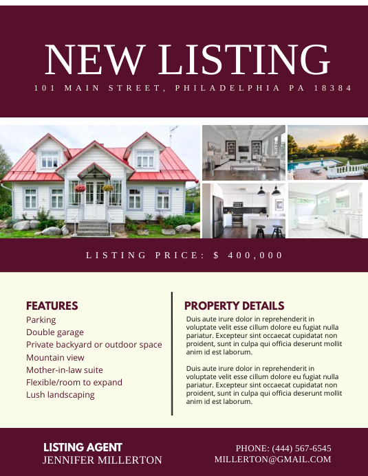 New Listing Flyer (Letter pang-US) template