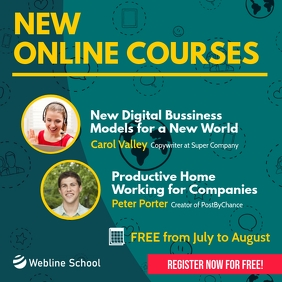 New Online Courses Square Instagram Facebook template
