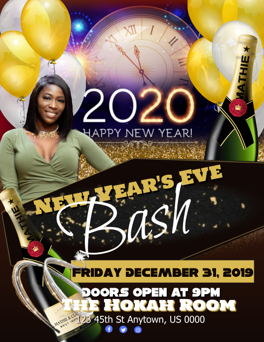 New Year's Eve Bash Flyer (Letter pang-US) template