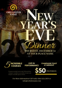 New Year's Eve Dinner Flyer A4 template