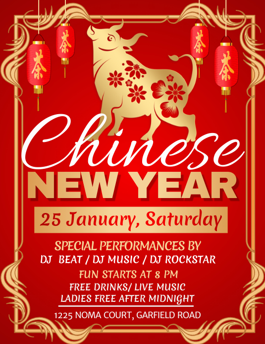 new year, chinese new year Flyer (US-Letter) template