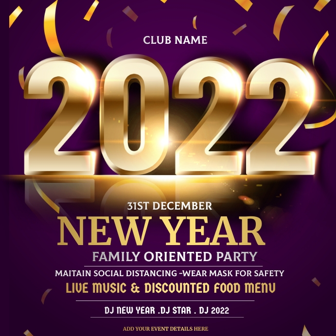 new year, new year party,2021 Persegi (1:1) template