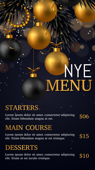 new year, new year special , new year menu Цифровой дисплей (9 : 16) template