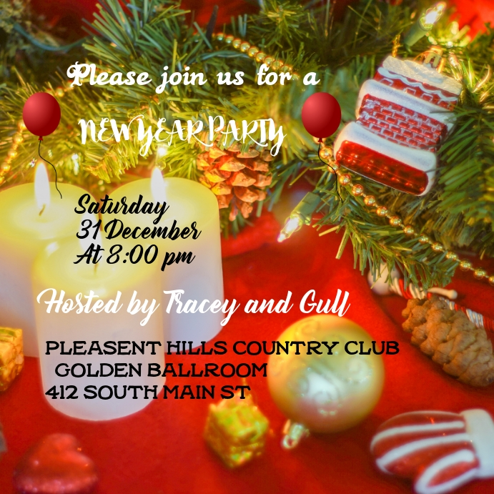 New Year Party Card Invitation Template Postermywall