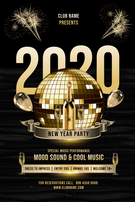 NEW YEAR 202 PARTY FLYER Poster template