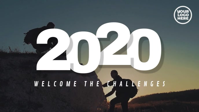 New Year 2020 Welcome The Challenges Video Sampul Facebook (16:9) template
