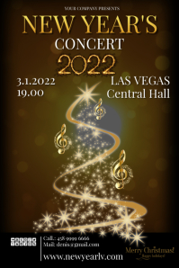 new year 2020concert Poster template