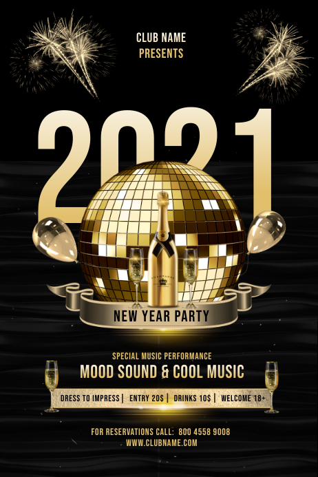 NEW YEAR 2021 PARTY FLYER Póster template
