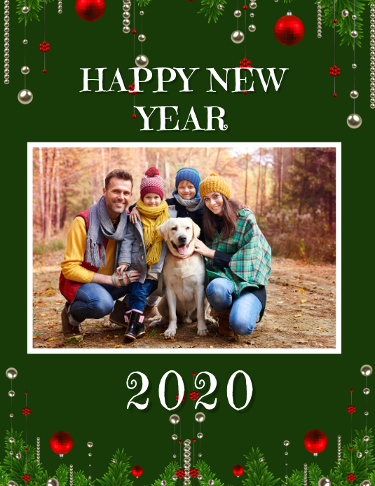 NEW YEAR CARD 2020 Flyer (US Letter) template