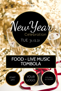 New Year Celebration Party Event Glitter Gold Iphosta template