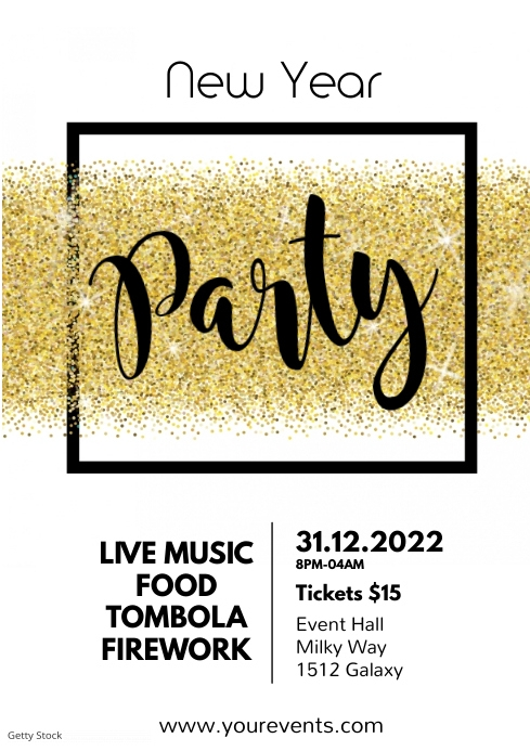 New Year Celebration Party Event Glitter Gold