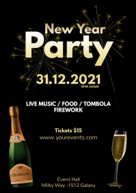 New Year Celebration Party Event Invitation A4 template