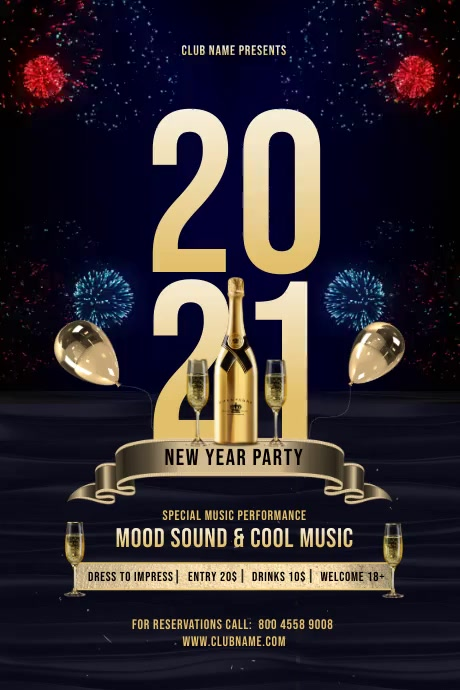 New Year Celebration Video Poster template