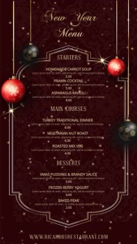 New Year Digital Menu Template