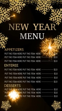 new year dinner menu digital display template