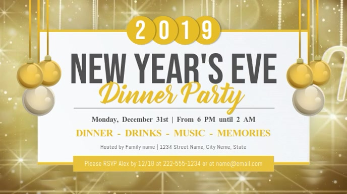 New Year Dinner Party Digital Display Video Template
