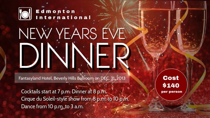New Year Eve Dinner Facebook Cover Video Template