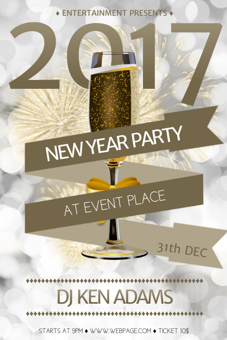 new year eve free party flyer template
