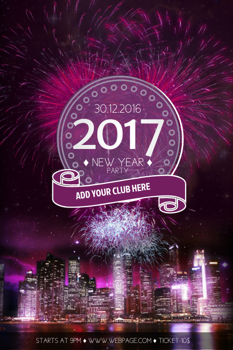 new year eve party flyer template free postermywall