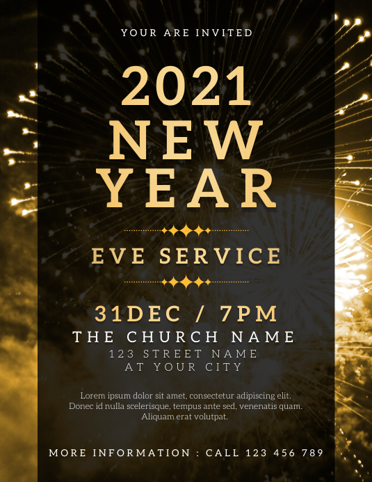 New Year Eve Service ใบปลิว (US Letter) template