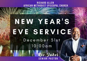 New Year Eve watch night church Service Postal template