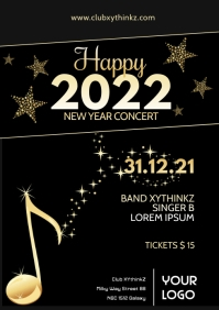 New Year Event Party Flyer Poster Template Ad A4