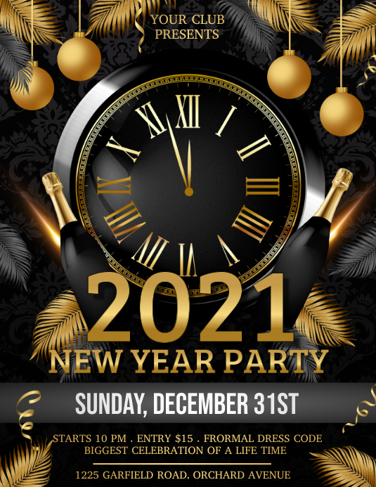 new year flyer, happy new year, new year Volante (Carta US) template