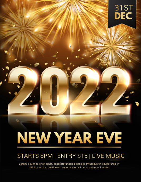 new year flyer, happy new year, new year Pamflet (Letter AS) template