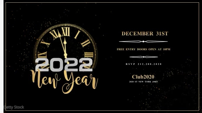 New Year Flyer, Happy New Year Digitale display (16:9) template