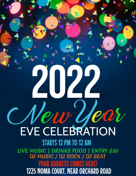 new year flyer, happy new year Iflaya (Incwadi ye-US) template