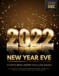 new year flyer, new year, new year video Pamflet (Letter AS) template