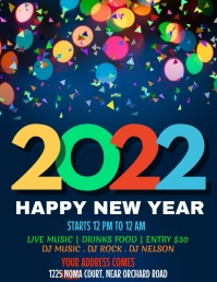 new year flyer, new year video Løbeseddel (US Letter) template
