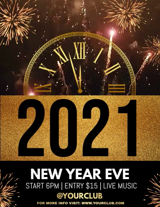 new year flyer,happy new year, new year video Volante (Carta US) template