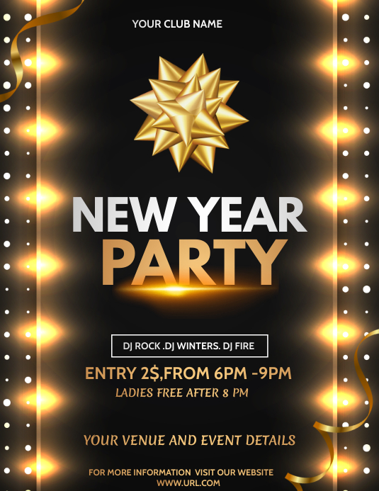 new year flyers,event flyers Pamflet (Letter AS) template
