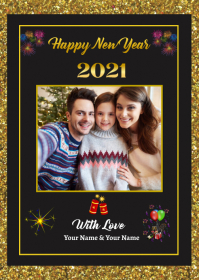 New Year Greeting Card A6 template